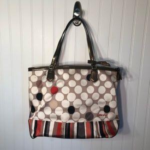 Coach   Tan Orange Poppy Dot Tote Shoulder Bag